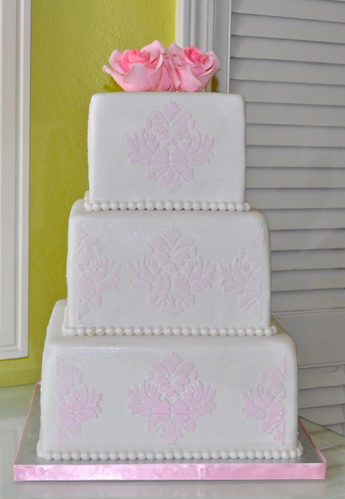 Pink Damask Wedding Cake 3 Tier White Wedding Cake Decorat Flickr
