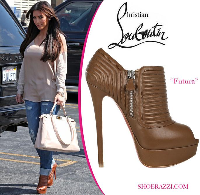 Kim Kardashian Christian Louboutin Brown Futura Ankle Bo