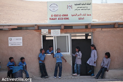 Start of classes in a school threatened to be demolished, Khan Al-Ahmar, Jerusalem periphery, 04.09.2011 | by Activestills