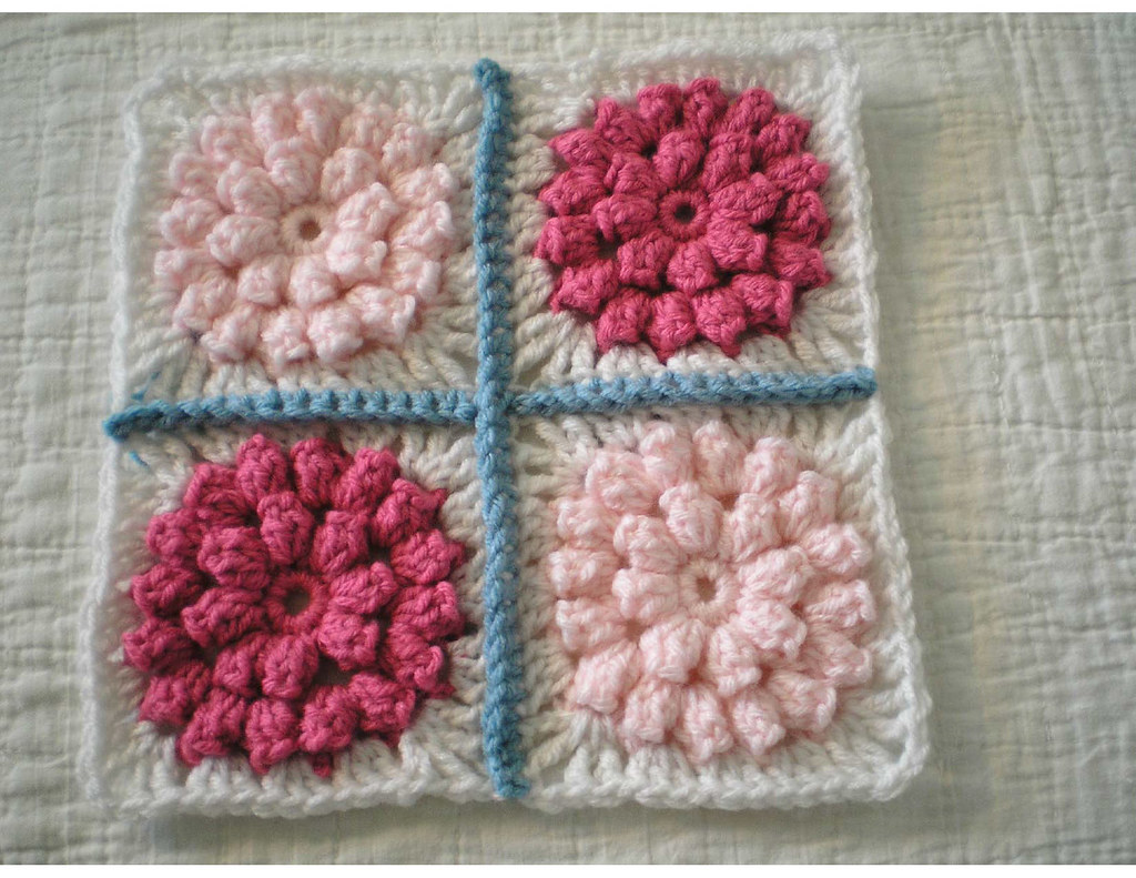 Knitted Popcorn Stitch Afghan : Popcorn Stitch Afghan Square Four blocks sewn together. Flickr