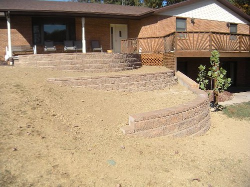 Walkout basement wing walls kiefer landscaping flickr Walkout basement landscaping pictures