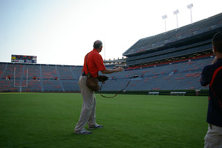 Eagle Specialist Roy Crowe slings a lure awaitiing Nova's arrival on the field. | by Auburn University