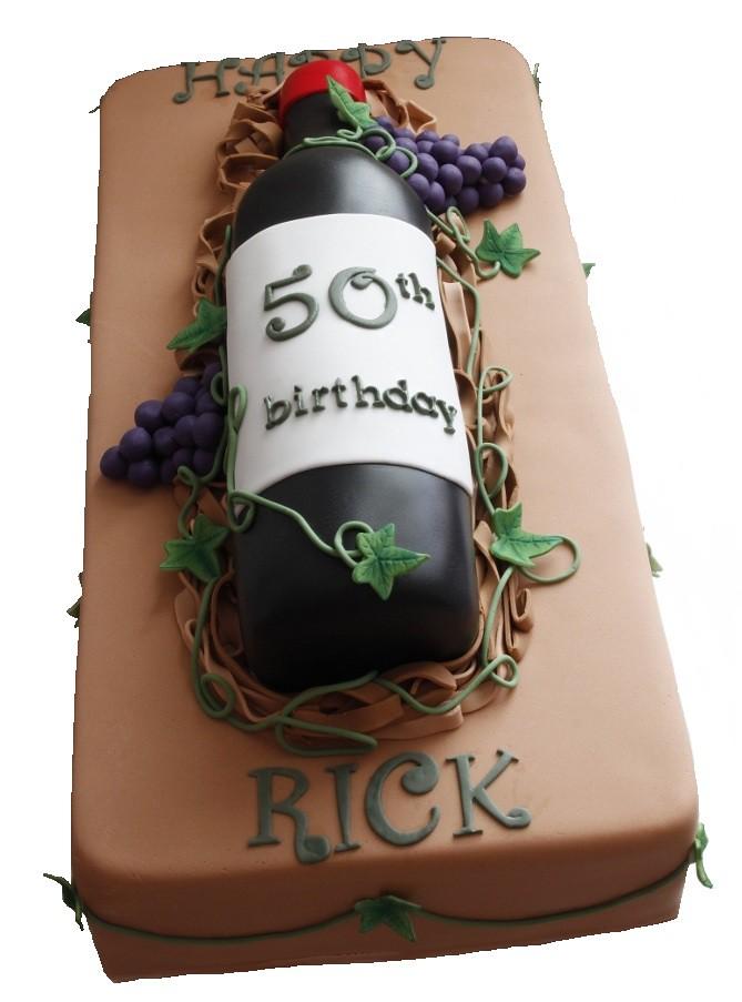 50th Birthday Wine Bottle Cake