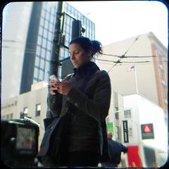 Texting, walking.