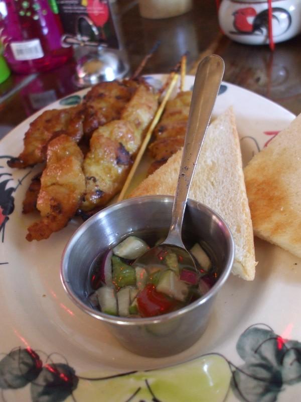 Pork Satay Skewers, Toast & Sauce | MookieLuv | Flickr