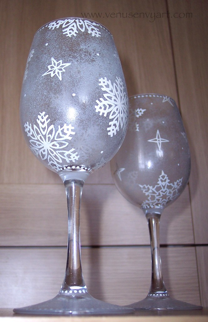 hand painted wine glasses  no two snowflakes are alike