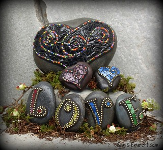 """Licorice"" Mosaic Rock Garden Stone and New Monogram Paperweights 