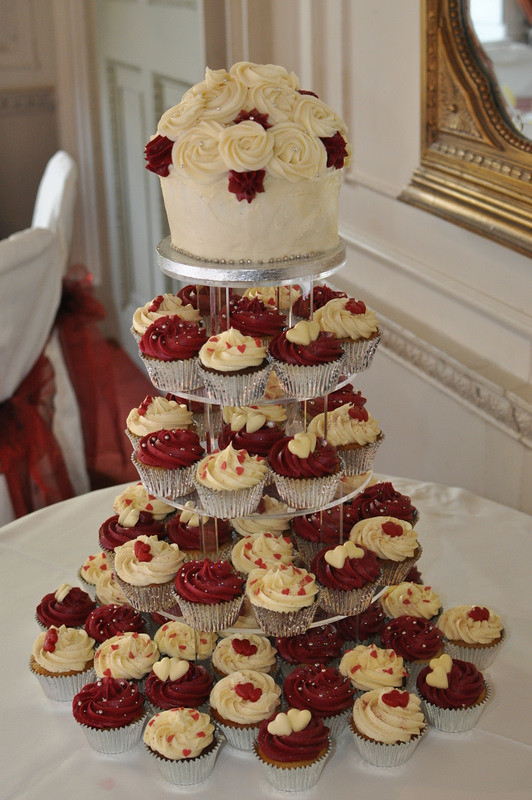 Burgundy And Cream Wedding Cupcake Tower Little Miss