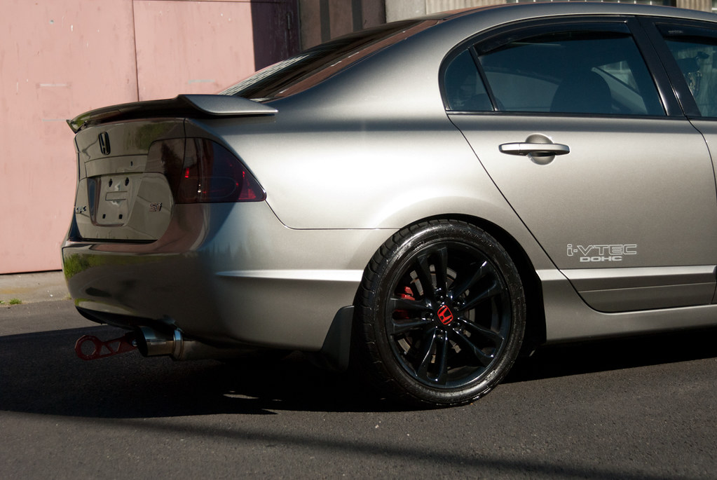 Supercharged Honda Civic FA5 exhaust and black painted whe ...