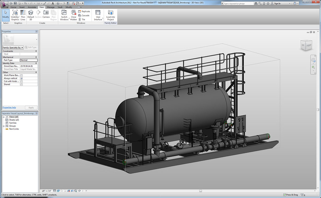 autodesk revit architecture a water treatmet skid for a la