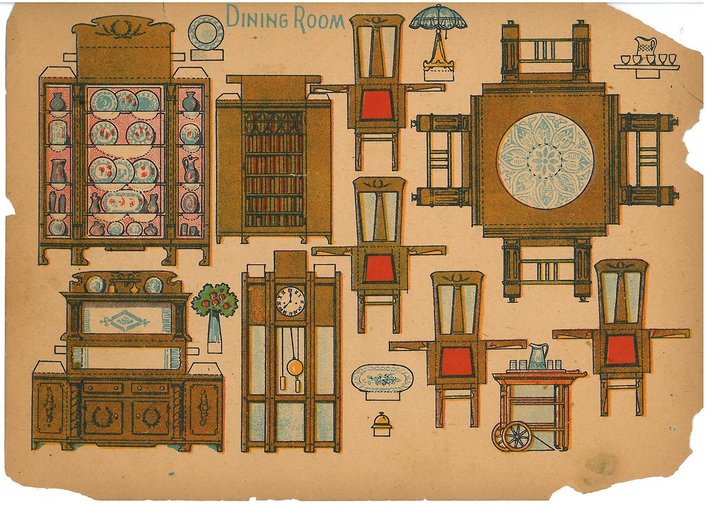 Dining room paper cutout of dining room furniture and acce flickr - Paper furniture ...