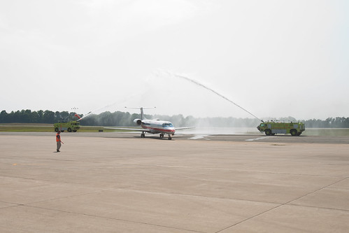 2 CHO Firetrucks - Station 9 - Spraying down a plane | by Charlottesville Albemarle Airport