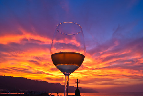 a glass of wine, sunset. [explore] | by Andrea_Federici