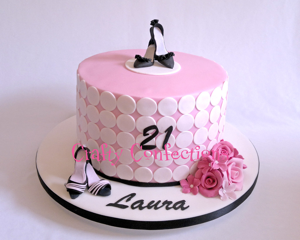 21st Birthday Cake Design For Her : Pink & girly shoe-themed 21st birthday cake The request ...