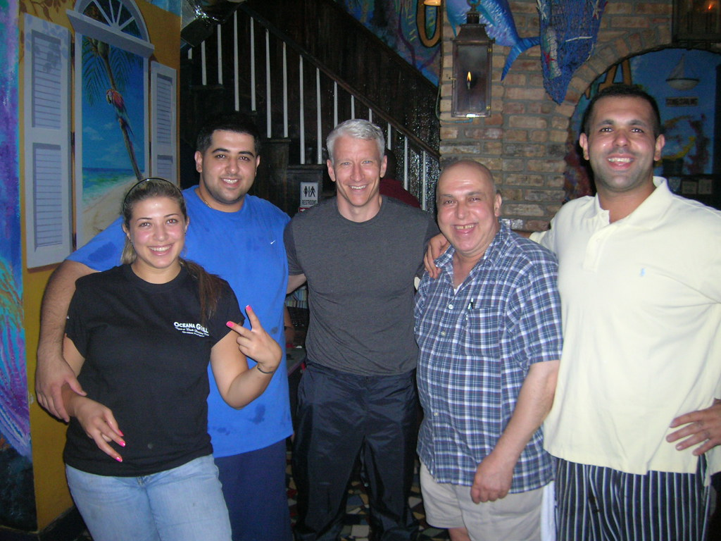 anderson cooper, rami, moe, dad, and marwa | oceana grill | flickr
