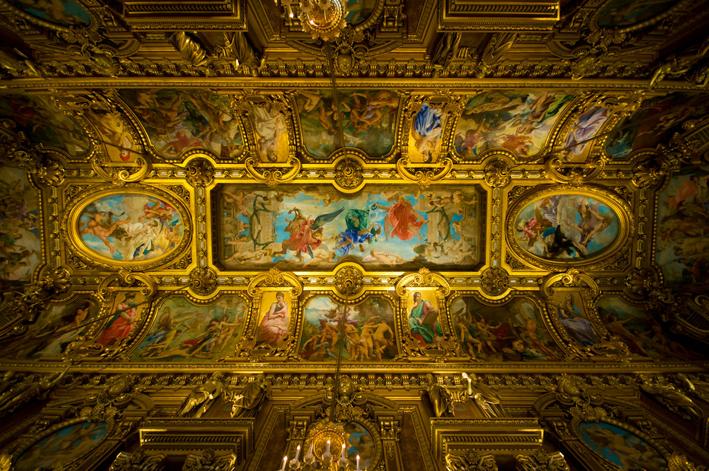 Grand Foyer Palais Du Luxembourg : Ceiling over the grand lobby of palais garnier plafond du
