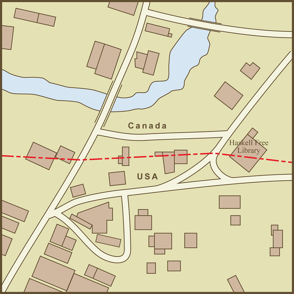 A Map Of The Border Between The Usa And Canada As It P Through The Town