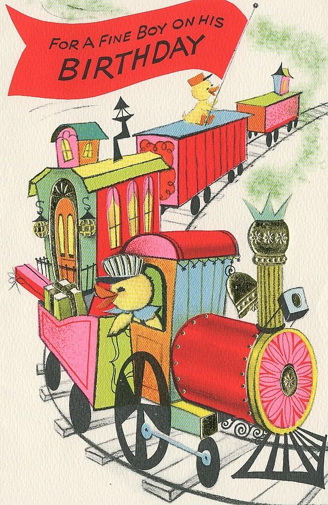 Vintage Birthday Card Ducks on a Train Heather David – Train Birthday Cards