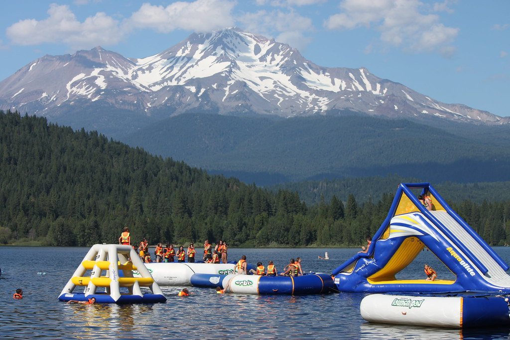 Lake Siskiyou Swimming Mt Shasta In The Background