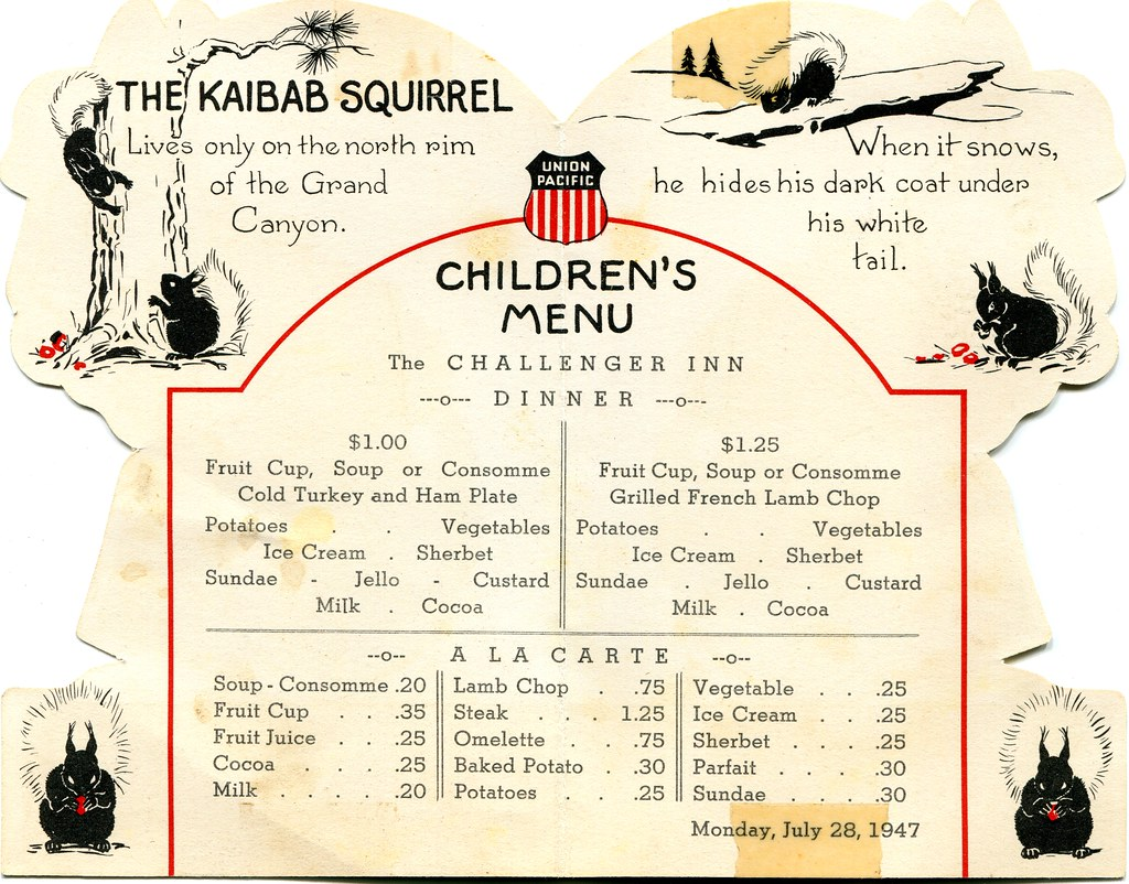 1947 Union Pacific Railroad Menu Children S Dinner Menu