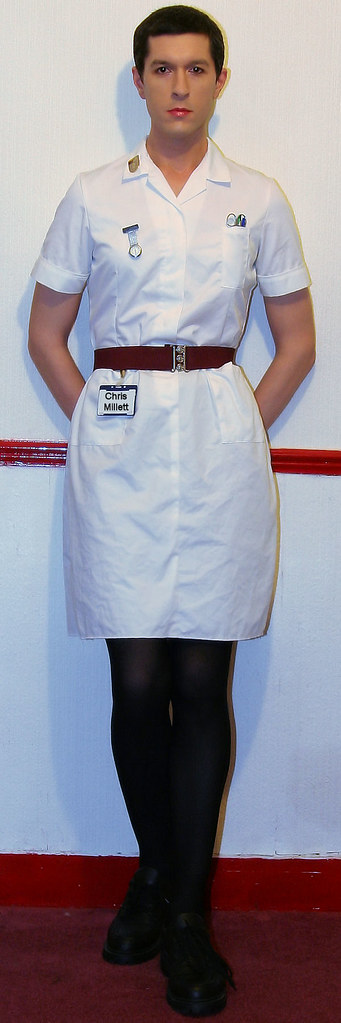Nurse White Tights And Orthotic Shoes
