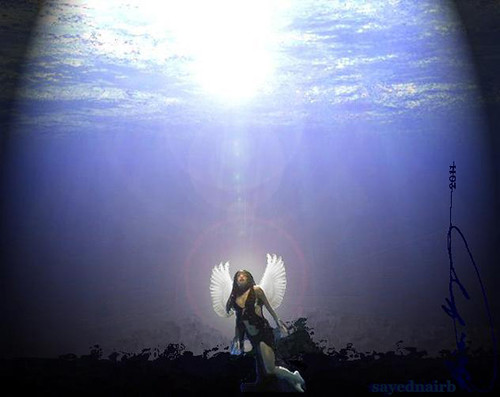 The Light >> Underwater Angel | A rendering of Aaliyah with Dove Wings fl… | Flickr