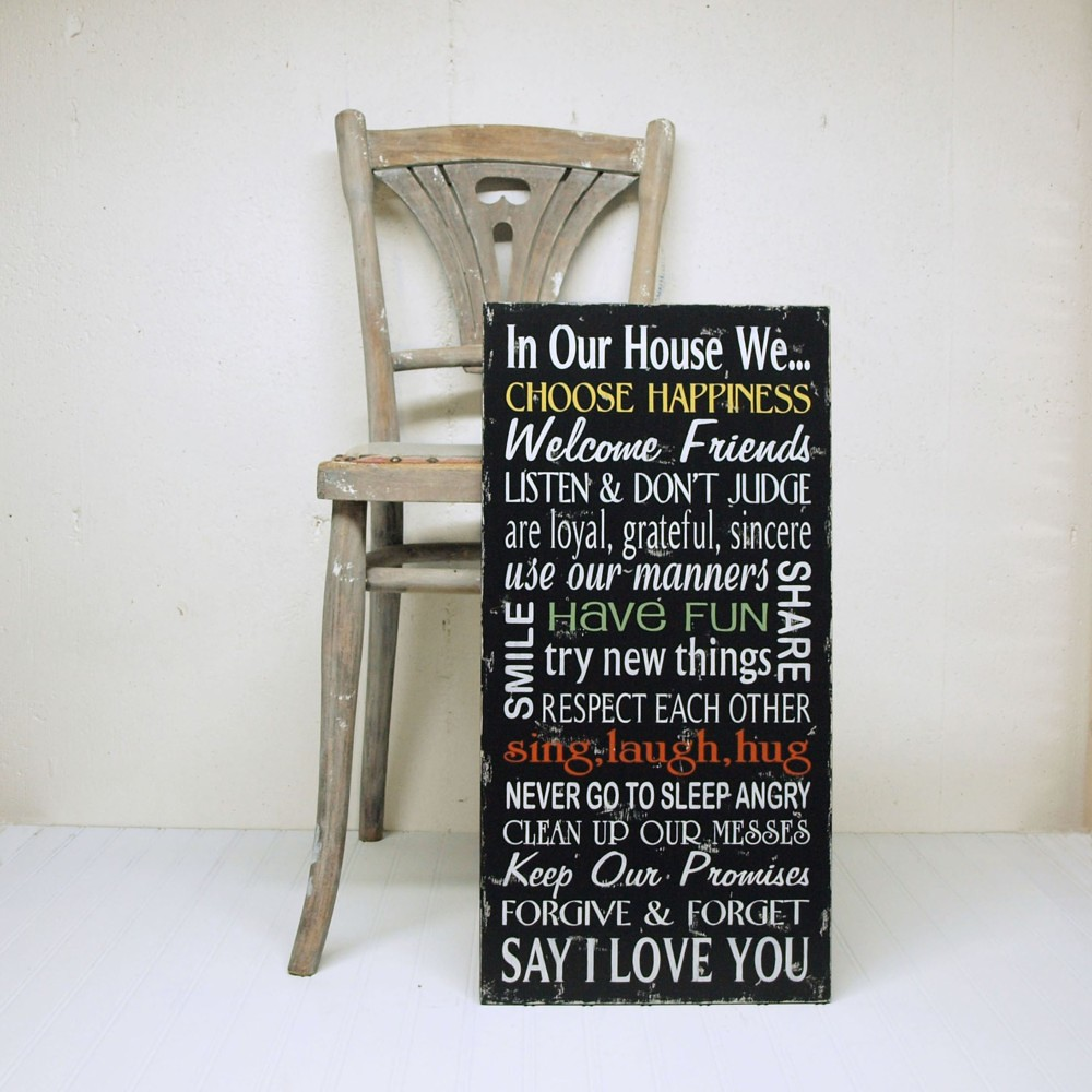 In Our House We...Family Rules Sign In Black