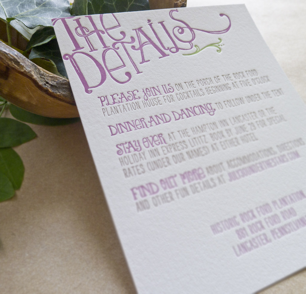 letterpress wedding invitation details card by bears eat berries press - Wedding Invitation Details Card