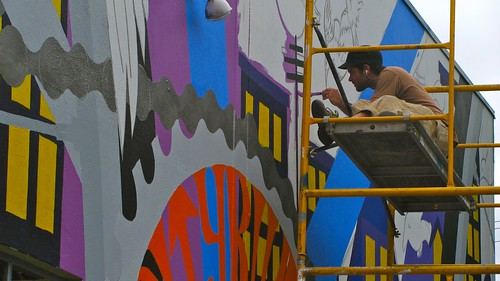 Mural being painted at the Citybikes Workers' Cooporative in Portland, Oregon. | by neilfein