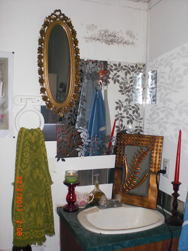 stick on bathroom mirrors metallic peel n stick leaves bathroom mirror projects 005 20676