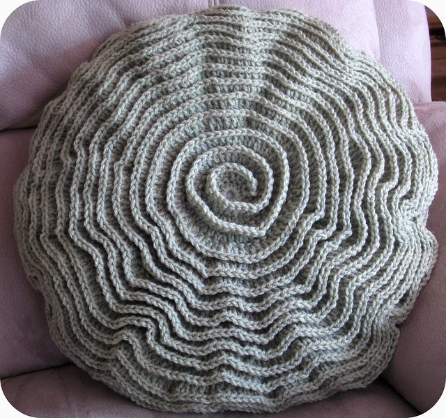 Free Crochet Pattern Bolster Pillow : Crochet Ripple Rose Pillow The color is much better in ...