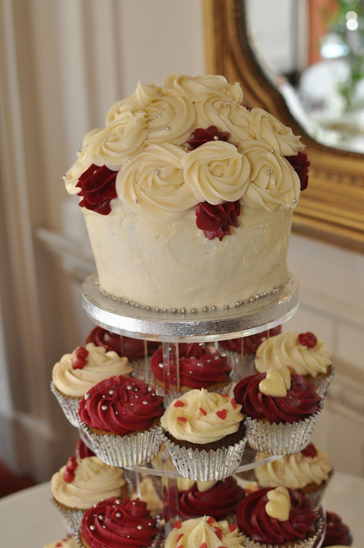 Burgundy And Cream Wedding Cupcakes And Giant Little
