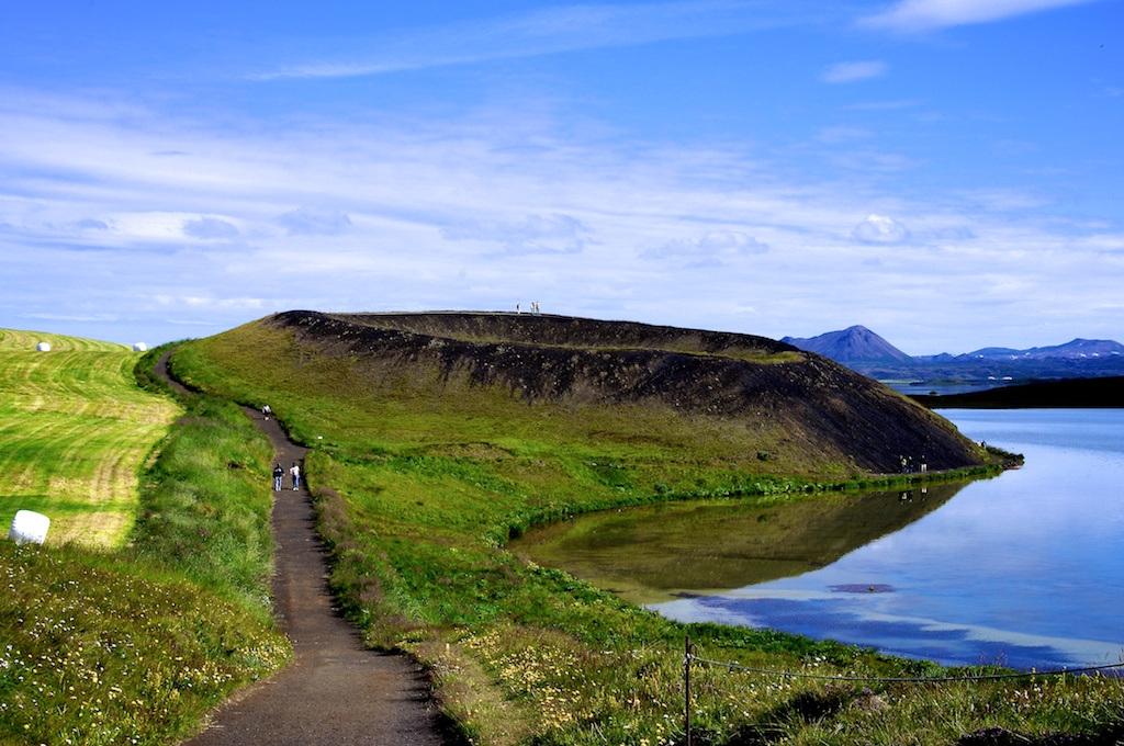 A Pseudocrater At Lake M 253 Vatn In Northern Iceland