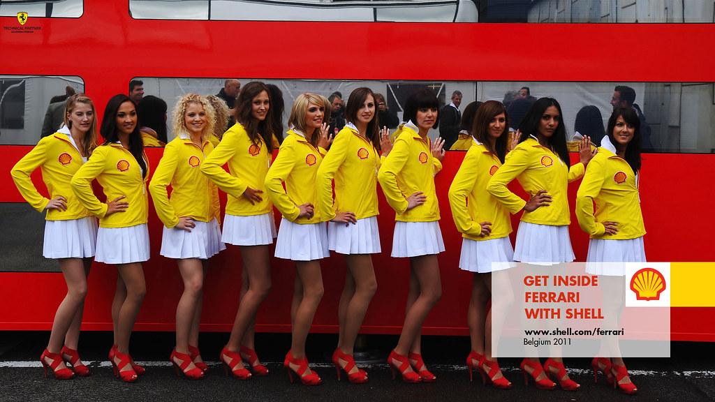 Shell Grid Girls In The Shell Belgian Grand Prix F1 Paddoc