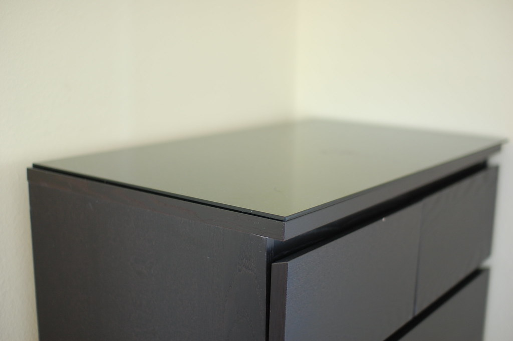 ... Black IKEA MALM 6 Drawer Dresser With Glass Top For Sale | By  Movingbargains