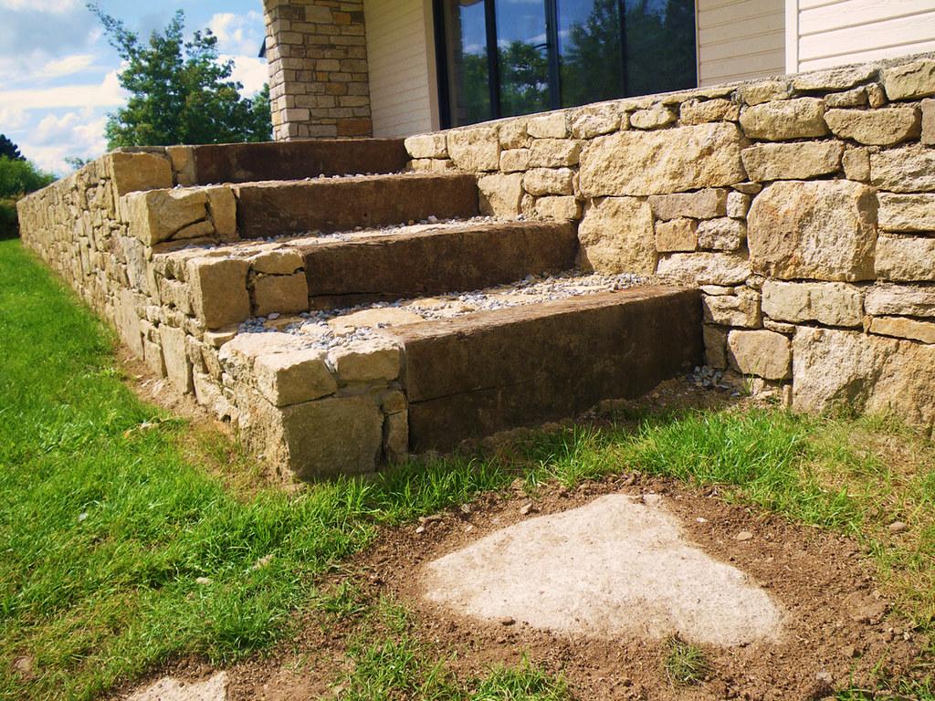 kerbrat jardins muret pierre s che et escalier mixte pie flickr. Black Bedroom Furniture Sets. Home Design Ideas