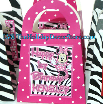 Personalized minnie mouse birthday party decorations zebra for Animal print decoration party