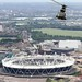 RAF Puma HC1 Helicopter Over the Olympic Stadium, London
