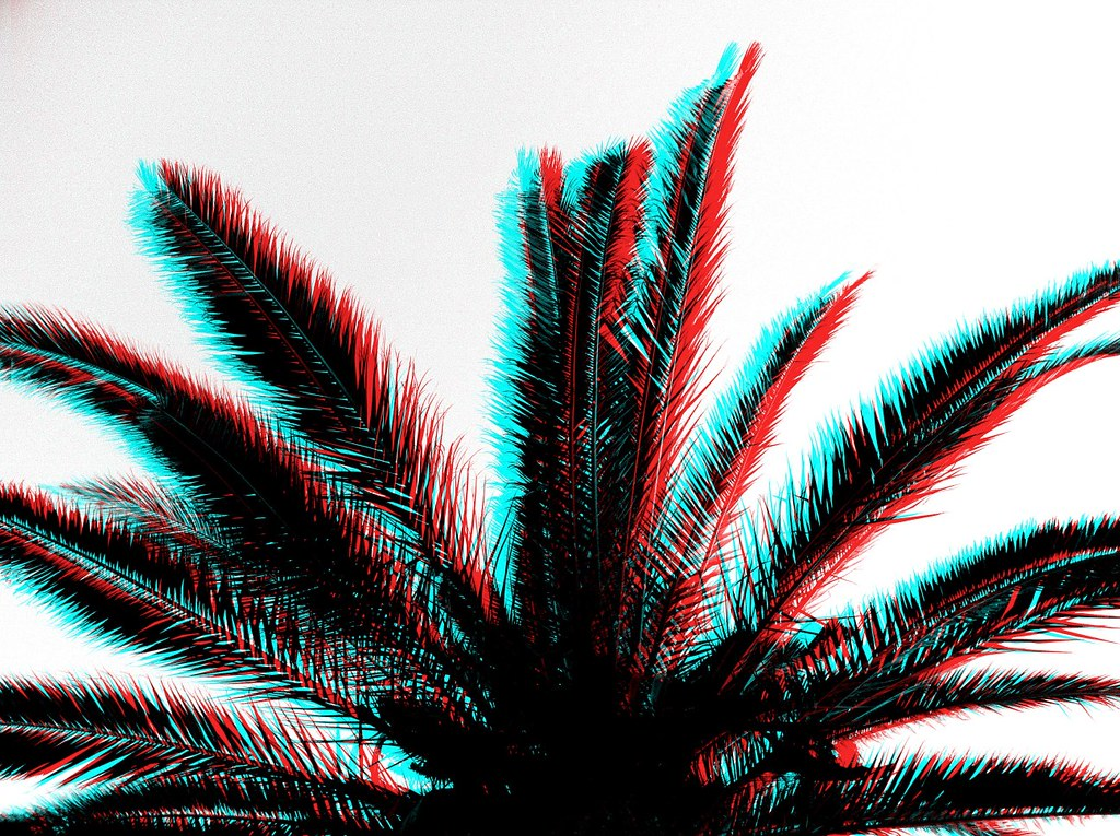 Old 3d effect palm tree