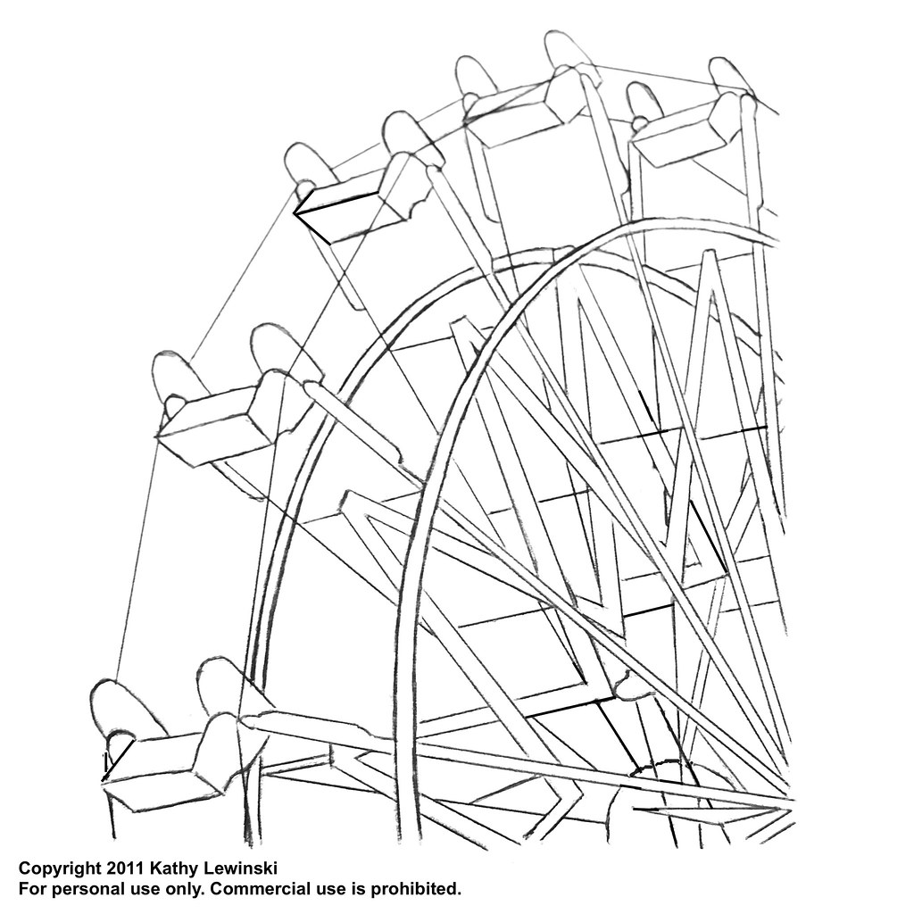 Ferris wheel embroidery pattern for Merry go round horse template