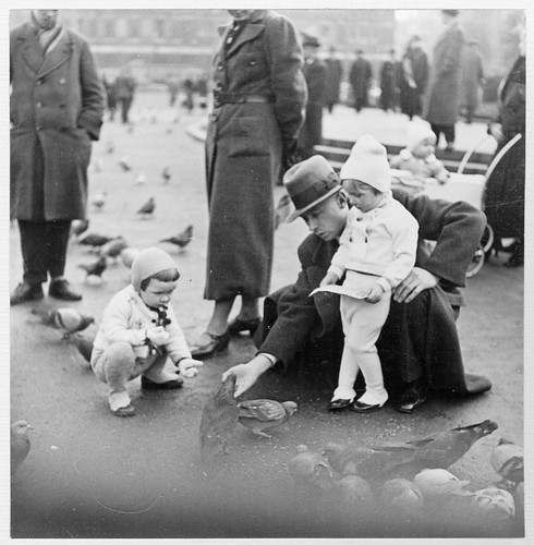 Children feeding pigeons in Leipzig, Germany 1937 | by Stockholm Transport Museum Commons