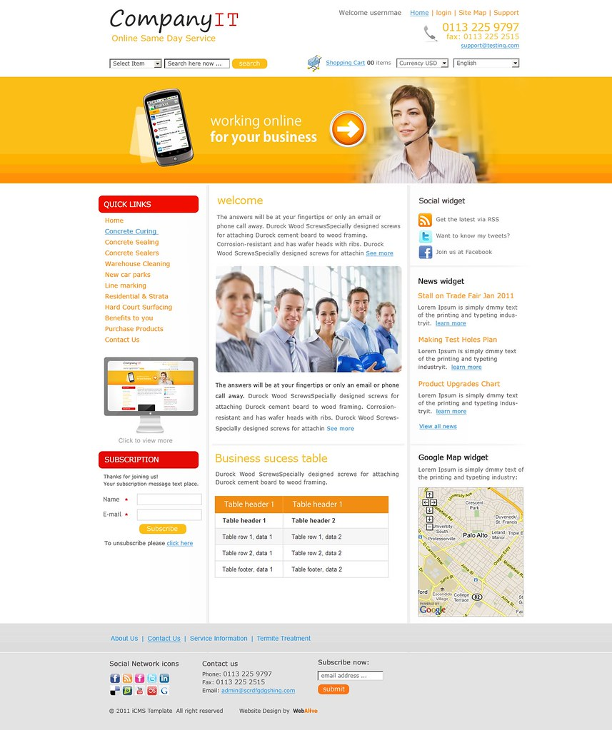 Web Design Template For Information Technology Business