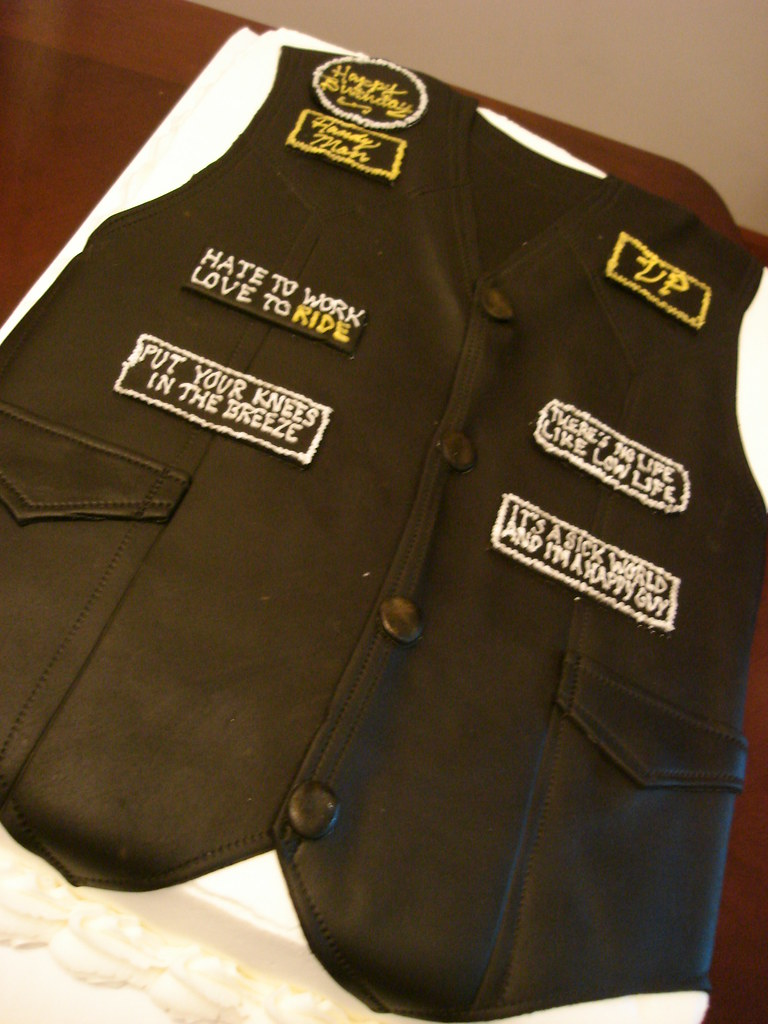 biker vest cake See more at madelizascom Mark Murnahan Flickr