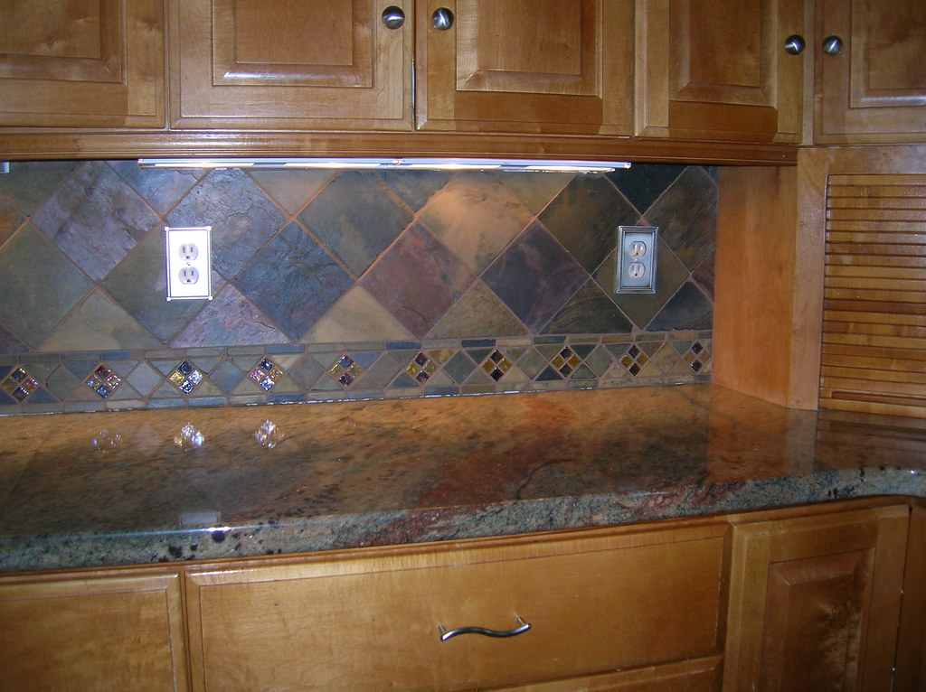 Kitchen Backsplash 4 Slate Tile On Point Cecejewell Flickr