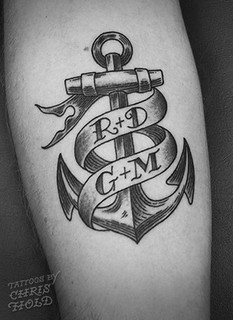 Anchor & Banner Tattoo - Etching Style | by Chris Hold