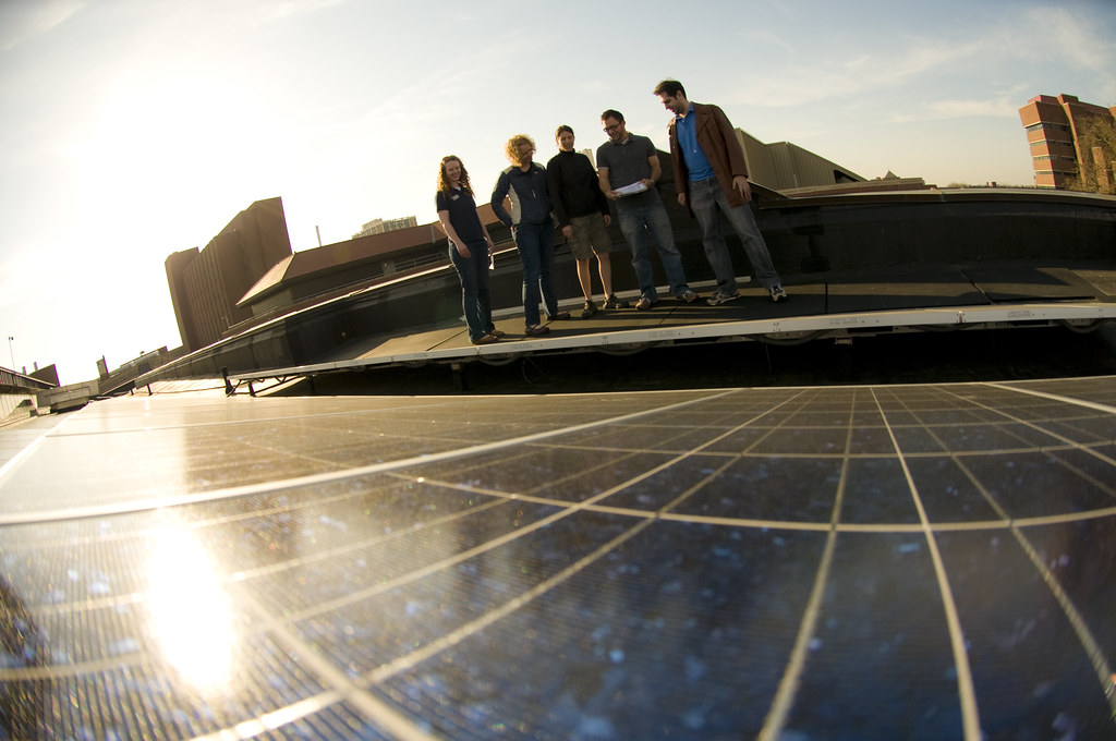 Students Inspect The Dana Building S Solar Panels Our