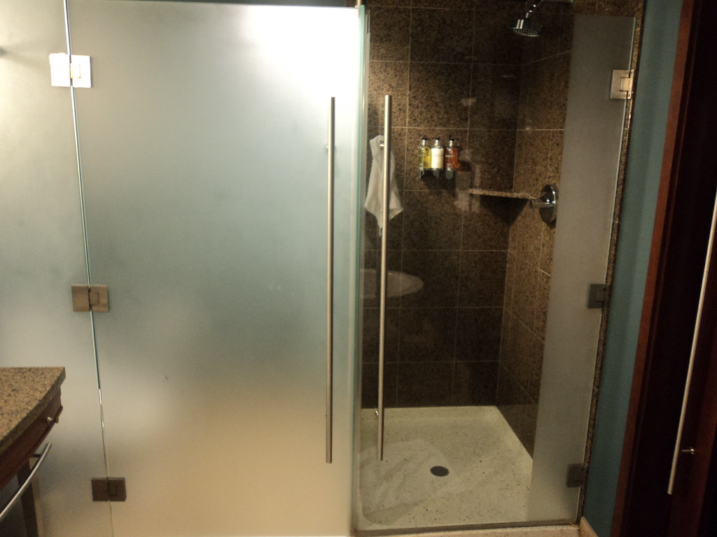 bathroom with glass partition: water closet and shower   Flickr