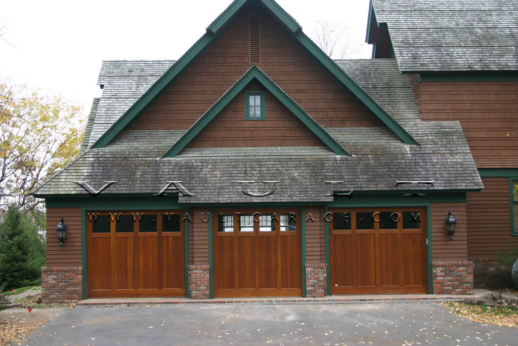 Wood carriage style garage doors offered by vault flickr for R value of old wood garage door