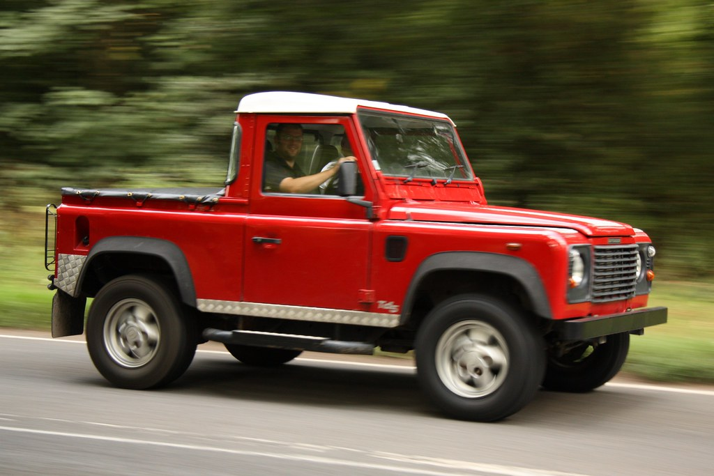 land rover defender 90 truck cab red stoneleigh 2011 flickr