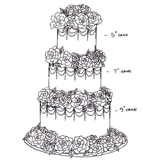 Vintage rose wedding cake sketch Cake Occasions Flickr